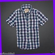 Hollister Co. SMALL S Mens Dudes NAVY & WHITE PLAID Fletcher Cove Shirt