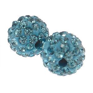 20 Perles Strass en argile Haute Qualité +/- 65 strass par perles 10 mm (bleu)