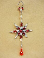 """Red Jeweled SNOW FLAKE  Christmas Ornament Decoration Ovid Faceted Gems 10"""""""