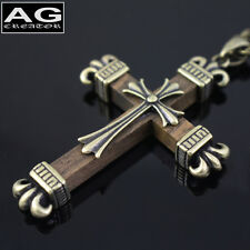 """Gothic brown wooden cross pendant with 22"""" chain necklace US SELLER"""