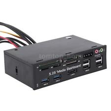 "5.25"" PC Media Dashboard Front Panel eSATA SATA USB 3.0 USB 2.0 Card Reader Hot"