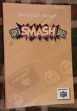 Official vintage Super Smash Bros. instruction manual booklet Nintendo N64