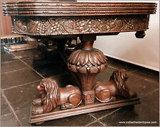 Dining Set Carved Lion Table, 6 Chairs U0026 Matching Sideboard 1880u0027s European