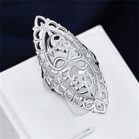 Fashion Cute 925 Sterling Silver Filled Hollow Big Ring Ladies Women Rings TO