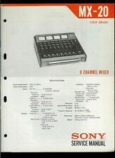Sony MX-20 8 Channel Audio Mixer Original Factory Service Manual Guide