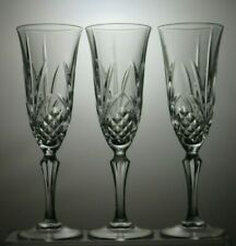 "CUT GLASS CRYSTAL CHAMPAGNE FLUTES SET OF 3 - 8"" TALL"