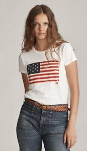 Polo Ralph Lauren Women American Flag Appliqué Cotton T Shirt Light Yellow S