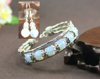 Ladies Bangle Earrings Tibetan Silver White Opal Woman Bracelet Earrings Set