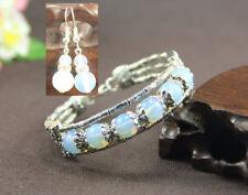 Ladies Bangle Earrings Tibetan Silver White Opal Woman Bracelet Earrings Set