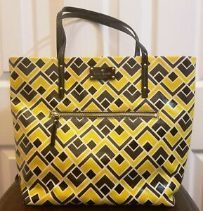 KATE SPADE Bon Shopper Black and Yellow Patent Leather Tote