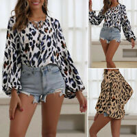 Womens Leopard Print Long Sleeve Shirts Tops Ladies Loose Blouse Plus Size 10-24