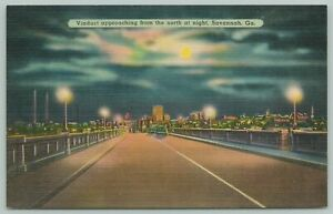 Savannah Georgia~Viaduct At Night Skyline Of City~1940s Linen Postcard