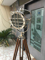 Marine Nautical Spotlight Decorative Floor Hollywood Lamp Wooden Tripod Stand