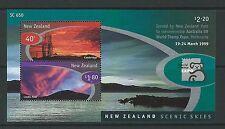 Nouvelle-zélande 1999 australie'99 exhibition, scenic ciel miniature feuille de l'onu. mint