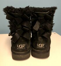UGG Toddler Girls Pull On Boots Bailey Bow Black Suede US Size 7