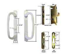 Sliding Glass Patio Door Handle Kit Mortise Lock and Keepers, B-Position White