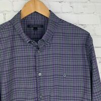 Men's John Varvatos (Large) Purple/Gray Checked Roll Up Sleeve Shirt EUC