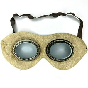 Vtg Rubber Mask Tin Celluloid Goggles Pilot Motorcycle Eye Safety Steampunk E5