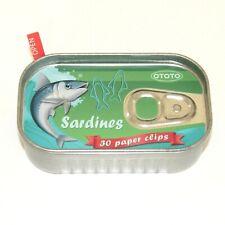 Sardine Fish Paper Clips 30 in Tin Box Fishing Themed Office School Otto Design