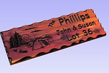 Personalized Custom Carved Cedar Wood Camping Tent Sign -  Plaque Rustic Decor
