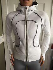 LULULEMON Size 4 Scuba HOODIE Zip Up Limited Edition Jacket Convert Pillow White