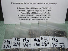 1 Box assorted Spring Temper Stainless Steel jump rings. Made in the USA!