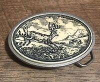 Hand Crafted Scrimshaw Series Metal Belt Buckle Buck Deer In Front Of Mountains