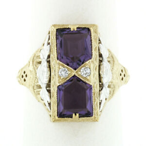 14K Two Tone Gold 1.80ct Amethyst Diamond Filigree Milgrain Etched Cocktail Ring