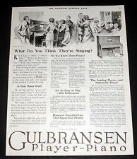 1919 OLD MAGAZINE PRINT AD, GULBRANSEN PLAYER PIANOS, IT'S SO EASY TO PLAY, ART!