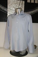 bonito camisa de rayas azul hombre Hugo Boss talla 44 17-1/2 COMO NUEVO