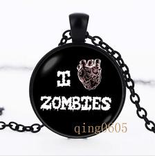 Horror necklace Zombie photo Glass Dome black Chain Pendant Necklace wholesale