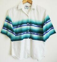 Vtg 90s Men's Roper Border Southwest Geometric Print Grunge Surf Skate Shirt M
