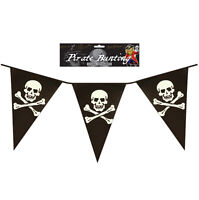 12FT PIRATE PVC 11 PENNANT BUNTING BIRTHDAY PARTY FLAG BANNER SKULL & CROSSBONES