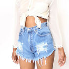 Women High Waist Ripped Denim Jean Shorts Summer Casual Floral Hot Pant Trousers