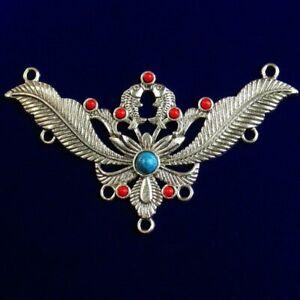 3pcs Tibetan Silver Inlaid Red Blue Turquoise Pendant Bead 79x44x5mm 911PJ