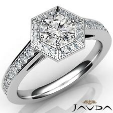 1.1ctw Gala Halo Pave Round Diamond Engagement Ring GIA G-VS1 White Gold Rings