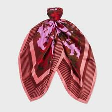 Paul Smith Red And Pink Floral Square Silk Scarf Box1358 f