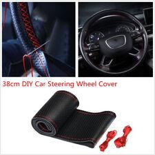 38cm/15'' Car Steering Wheel Cover DIY Anti-slip Genuine Leather Needle Thread