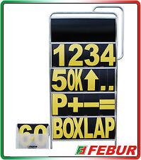TABELLA NUMERI BOX ALLUMINIO 157x77cm A 5 RIPIANI + VALIGETTA CON 57 SCHEDE