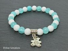Aqua Blue Jade & White Agate Fashion Beaded Bracelet With Silver Teddy Charm