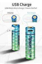 2 x Micro USB rechargeable 1.5V Li-ion AA LITHIUM Battery 1850 mAh TIPSUN Cable