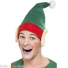 Women's Men's Green Christmas Little Helper Hat & Ears & Pom Pom Xmas Party Fun