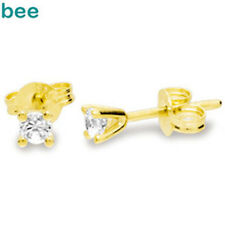 Round Diamond 9ct 9k Solid Yellow Gold Stud Earrings W/ Butterfly Back
