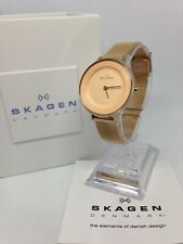 Ladies Rose Gold Plated Skagen Quartz Watch with Skagen Box/papers