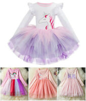 New Princess Unicorn Girls Dress Casual Tutu Skirt Birthday Party Kids Clothes