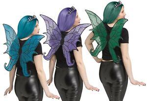 Adult/Kids Glittered Fairy Wings Dark Purple Green Blue Black Halloween Costume