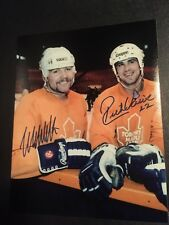 Wendel Clark and Rick Vaive 1980s Dual Signed 8x10 Photo Toronto Maple Leafs