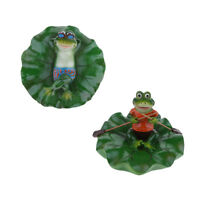 2x Pond Water Floating Lotus Leaf Ornament Sculpture Lying & Rowing Frogs