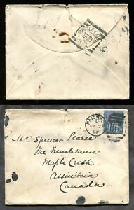 p250 - MAPLE CREEK ASSA Assiniboia 1896 Squared Circle on Cover from England