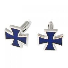 Stainless Steel Men Cuff Link CUFFLINKS Shirt Set Iron Cross Windmill--Blue T1